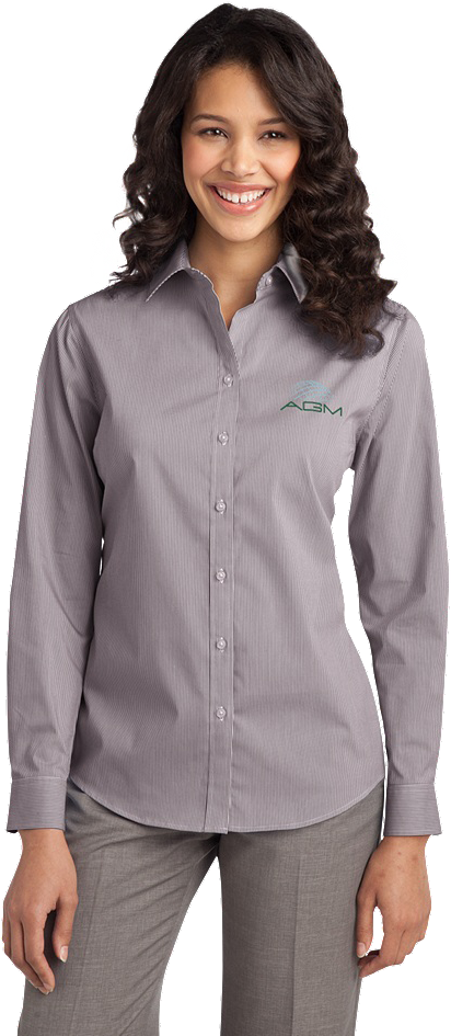 PORT AUTHORITY LADIES FINE STRIPE STRETCH POPLIN SHIRT
